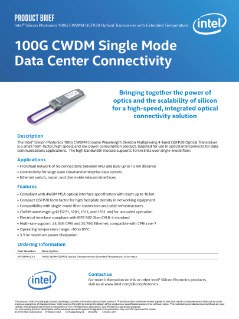 Intel® Silicon Photonics CWDM4 Optical Transceiver with Extended Temperature