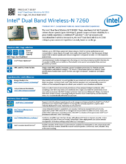 Intel® Dual Band Wireless-N 7260 AGN: Product Brief