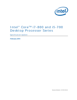Intel® Core™ i7-800/i5-700 Desktop Processor Series: Spec Update