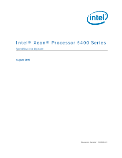 Intel® Xeon® Processor 5400 Series: Specification Update